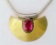 Munich muse Necklace in silver and 18K gold with pink Tourmaline